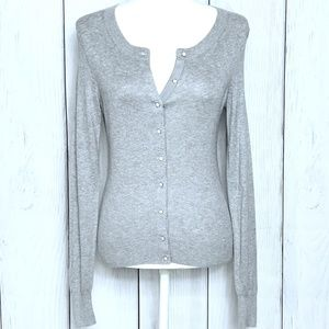 Banana Republic Gray Silk Cardigan Sweater